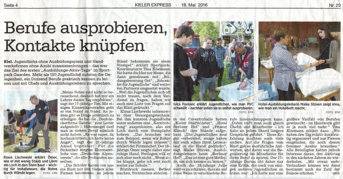 Artikel im Kieler Express vom 18. Mai 2016